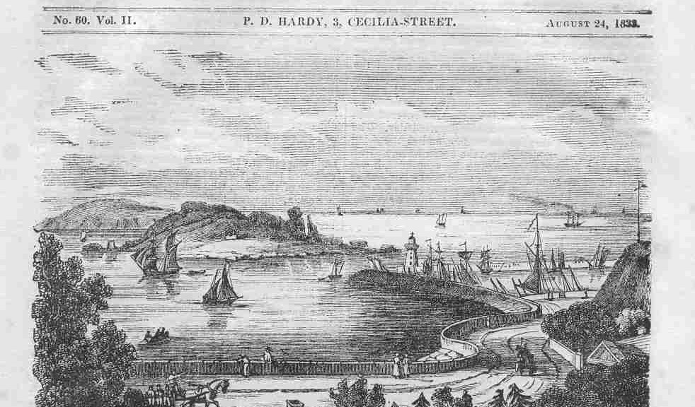 Howth Harbour in 1830, from the Dublin Penny Journal