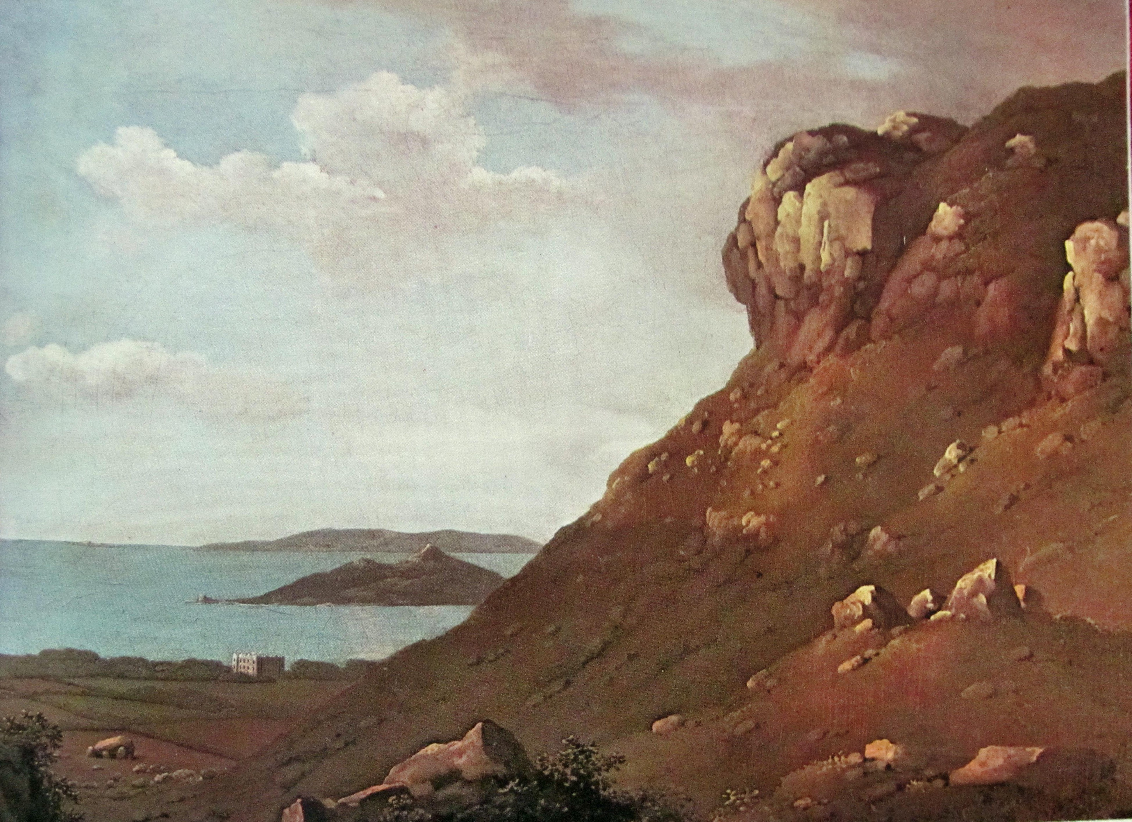 JA O'Connor's painting of Muck Rock, showing the dolmen at bottom right. The painting dates from c1820, before the rhododendron gardens were planted